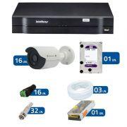 Kit de Câmeras de Segurança - DVR Intelbras 1016 16 Ch G2 + 16 Câmeras Bullet Infravermelho Flex 4 em 1 Tecvoz QCB-136P HD 720p 1.0M + HD WD Purple + Acessórios