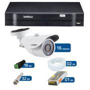 Kit de Câmeras de Segurança - DVR Intelbras 16 Ch Tríbrido HDCVI + 16 Câmeras infravermelho Intelbras VM 3120 IR, 720 TVL, IR com 20 metros de alcance + Acessórios