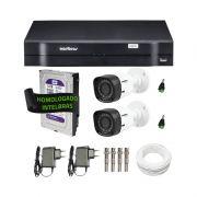 Kit de Câmeras de Segurança - DVR Intelbras 4 Ch G2 Tríbrido HDCVI + 2 Câmeras Infra VHD 1010B HD 720p + HD WD Purple 1TB + Acessórios