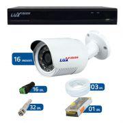 Kit de Câmeras de Segurança - DVR Stand Alone Híbrido AHD Luxvision ECD 16 Canais + 16 Câmeras Infra Luxvision HD 720p + Acessórios
