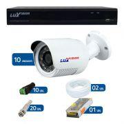 Kit de Câmeras de Segurança - DVR Stand Alone Híbrido AHD Luxvision ECD 16 Canais Full HD 1080p + 10 Câmeras Infra Luxvision HD 720p + Acessórios