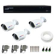 Kit de Câmeras de Segurança - DVR Stand Alone Híbrido AHD Luxvision ECD 4 Canais + 3 Câmeras Infra Luxvision HD 720p + Acessórios
