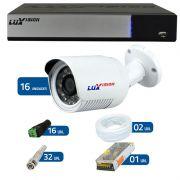 Kit de Câmeras de Segurança - DVR Stand Alone Híbrido AHD M Luxvision 16 Canais + 16 Câmeras Infra Luxvision HD 720p + Acessórios