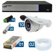 Kit de Câmeras de Segurança - DVR Stand Alone Híbrido AHD M Luxvision 16 Canais Smart + 10 Câmeras Infra Tudo Forte 1.0M 720p + Acessórios