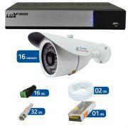 Kit de Câmeras de Segurança - DVR Stand Alone Híbrido AHD M Luxvision 16 Canais Smart + 16 Câmeras Infra Tudo Forte 1.0M 720p + Acessórios