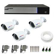 Kit de Câmeras de Segurança - DVR Stand Alone Híbrido AHD M Luxvision 4 Canais + 3 Câmeras Infra Luxvision HD 720p + Acessórios