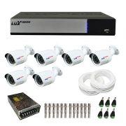 Kit de Câmeras de Segurança -DVR Stand Alone Híbrido AHD M Luxvision 8 Canais Smart  + 6 Câmeras Infra Luxvision HD 720p + Acessórios