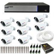 Kit de Câmeras de Segurança - DVR Stand Alone Híbrido AHD M Luxvision 8 Canais Smart + 8 Câmeras Infra Luxvision HD 720p + Acessórios