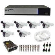 Kit de Câmeras de Segurança - DVR Stand Alone Híbrido AHD M Luxvision 8 Canais Smart + 6 Câmeras Infra Tudo Forte 1.0M 720p + Acessórios