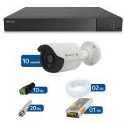Kit de Câmeras de Segurança - DVR Stand Alone Tecvoz 16 Ch Flex 4 em 1 + 10 Câmeras Bullet Infravermelho Flex 4 em 1 Tecvoz QCB-136P HD 720p 1.0M + Acessórios