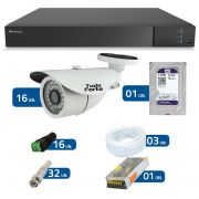 Kit de Câmeras de Segurança - DVR Stand Alone Tecvoz 16 Ch Flex 4 em 1 + 16 Câmeras Bullet Infravermelho 1000 Linhas Tudo Forte 2,8mm IP66 + HD WD Purple + Acessórios