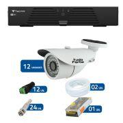 Kit de Câmeras de Segurança - DVR Tecvoz 16 Ch T1-LTVI16 + 12 Câmeras Bullet Infravermelho 1000 Linhas Tudo Forte 2,8mm IP66 + Acessórios