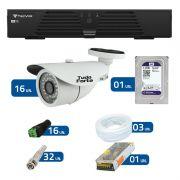Kit de Câmeras de Segurança - DVR Tecvoz 16 Ch T1-LTVI16 + 16 Câmeras Bullet Infravermelho 1000 Linhas Tudo Forte 2,8mm IP66 + HD WD Purple + Acessórios