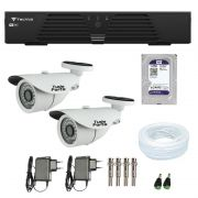 Kit de Câmeras de Segurança - DVR Tecvoz 4 Ch T1-LTVI04 + 2  Câmeras Bullet Infravermelho 1000 Linhas Tudo Forte 2,8mm IP66 + HD WD Purple + Acessórios