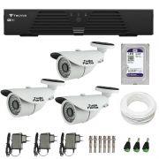 Kit de Câmeras de Segurança - DVR Tecvoz 4 Ch T1-LTVI04 + 3  Câmeras Bullet Infravermelho 1000 Linhas Tudo Forte 2,8mm IP66 + HD WD Purple + Acessórios