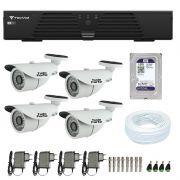 Kit de Câmeras de Segurança - DVR Tecvoz 4 Ch T1-LTVI04 + 4  Câmeras Bullet Infravermelho 1000 Linhas Tudo Forte 2,8mm IP66 + HD WD Purple + Acessórios