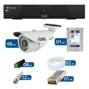 Kit de Câmeras de Segurança - DVR Tecvoz 8 Ch T1-LTVI08 + 6  Câmeras Bullet Infravermelho 1000 Linhas Tudo Forte 2,8mm IP66 + HD WD Purple + Acessórios