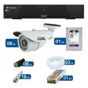 Kit de Câmeras de Segurança - DVR Tecvoz 8 Ch T1-LTVI08 + 8  Câmeras Bullet Infravermelho 1000 Linhas Tudo Forte 2,8mm IP66 + HD WD Purple + Acessórios