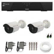 Kit de Câmeras de Segurança - DVR Tecvoz 4 Ch Tríbrido HDTVI + 2 Câmeras Bullet Infravermelho Flex 4 em 1 Tecvoz QCB-136P HD 720p 1.0M  + Acessórios
