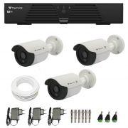 Kit de Câmeras de Segurança - DVR Tecvoz 4 Ch Tríbrido HDTVI + 3 Câmeras Bullet Infravermelho Flex 4 em 1 Tecvoz QCB-136P HD 720p 1.0M + Acessórios