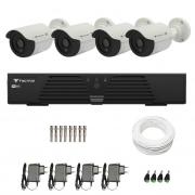 Kit CFTV 4 Câmeras Infra 720p Tecvoz Flex QCB 128P - DVR Tecvoz HDTVI + Acessórios