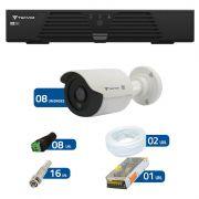 Kit de Câmeras de Segurança - DVR Tecvoz 8 Ch Tríbrido HDTVI + 8 Câmeras Bullet Infravermelho Flex 4 em 1 Tecvoz QCB-136P HD 720p 1.0M + Acessórios