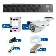 Kit de Câmeras de Segurança - DVR TVZ Security 16 Ch AHD M + 16 Câmeras Bullet Infravermelho 1000 Linhas Tudo Forte 2,8mm IP66 + HD WD Purple + Acessórios