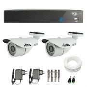 Kit de Câmeras de Segurança - DVR TVZ Security 4 Ch AHD M + 2  Câmeras Bullet Infravermelho 1000 Linhas Tudo Forte 2,8mm IP66 + Acessórios