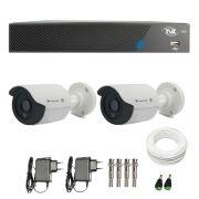 Kit de Câmeras de Segurança - DVR TVZ Security 4 Ch AHD M + 2 Câmeras Bullet Infravermelho Flex 4 em 1 Tecvoz QCB-136P HD 720p 1.0M + Acessórios