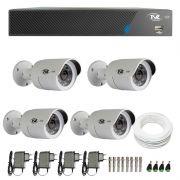 Kit de Câmeras de Segurança - DVR TVZ Security 4 Ch AHD M + 4 Câmerass Bullet AHD-BL1 TVZ Tecvoz Hibrida HD 720p lente HD 3.6mm+ Acessórios