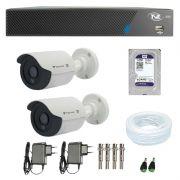 Kit de Câmeras de Segurança - DVR TVZ Security 4 Ch AHD M + 2 Câmeras Bullet Infravermelho Flex 4 em 1 Tecvoz QCB-136P HD 720p 1.0M + HD WD Purple + Acessórios