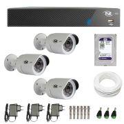 Kit de Câmeras de Segurança - DVR TVZ Security 4 Ch AHD M + 3 Câmeras Bullet AHD-BL1 TVZ Tecvoz Hibrida HD 720p lente HD 3.6mm + HD WD Purple + Acessórios