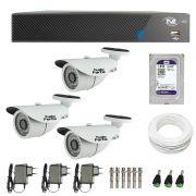 Kit de Câmeras de Segurança - DVR TVZ Security 4 Ch AHD M + 3 Câmeras Bullet Infravermelho AHD M Tudo Forte HD 720p 1.0M 3,6mm 36 Leds IP 66 IR 30 metros + HD WD Purple + Acessórios