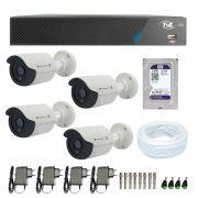 Kit de Câmeras de Segurança - DVR TVZ Security 4 Ch AHD M + 4 Câmeras Bullet Infravermelho Flex 4 em 1 Tecvoz QCB-136P HD 720p 1.0M + HD WD Purple + Acessórios