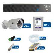 kit de Câmeras de Segurança - DVR TVZ Security 8 Ch AHD M + 6 Câmeras Bullet AHD-BL1 TVZ Tecvoz Hibrida HD 720p lente HD 3.6mm + HD WD Purple + Acessórios