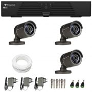 Kit de Câmeras de Segurança - DVR Tecvoz 4 Ch Tríbrido HDTVI + 3 Câmeras Infra ACB 836 800 Linhas + Acessórios