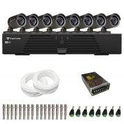 Kit de Câmeras de Segurança - DVR Tecvoz 8 Ch Tríbrido HDTVI + 8 Câmeras Infra ACB 836 800 Linhas + Acessórios