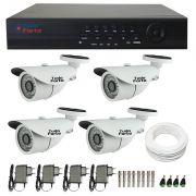 Kit de Câmeras de Segurança Tudo Forte - DVR Tudo Forte 4 Ch AHD 1080p + 4 Câmeras Bullet Infravermelho  AHD M Tudo Forte HD 720p 1.0M 3,6mm 36 Leds IP 66 IR 30 metros + Acessórios