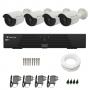 Kit de Câmeras de Segurança - DVR Tecvoz 4 Ch Tríbrido HDTVI + 4 Câmeras Bullet Infravermelho Flex 4 em 1 Tecvoz QCB-136P HD 720p 1.0M + Acessórios