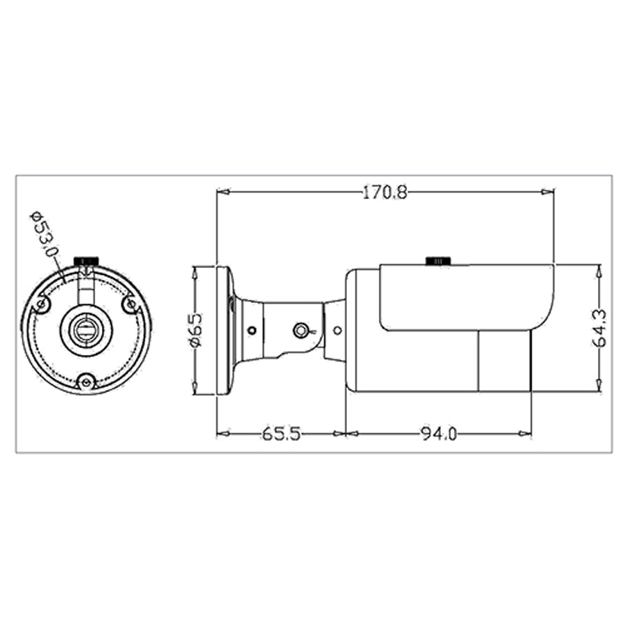 Câmera Bullet Infravermelho AHD M Tudo Forte 5020 HD 720p 1.0M 3,6mm IP66 - Uso Interno /Externo