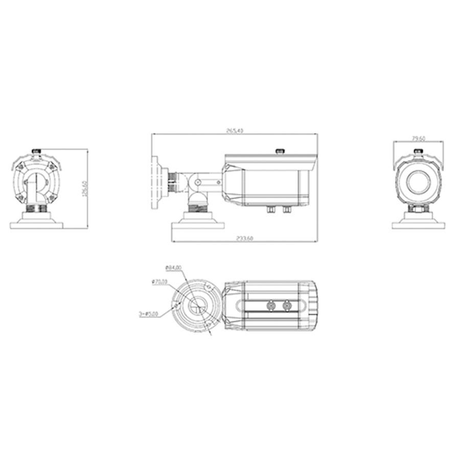 Câmera Bullet Infravermelho Varifocal AHD M Tudo Forte 7310 HD 720p 1.0M 2,8-12,0mm IP66