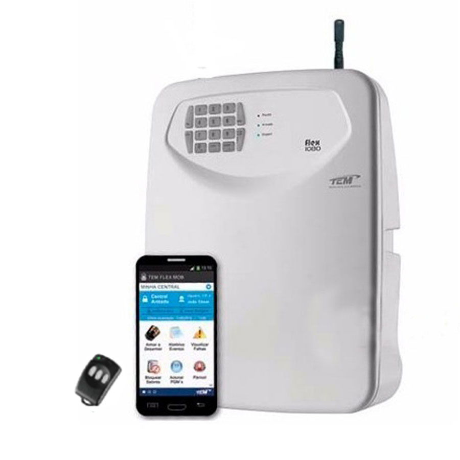 Central de Alarme 10 Setores Monitorado TEM FLEX-1080, Discadora de Linha e/ou GSM , Aplicativo Mobile e PGM