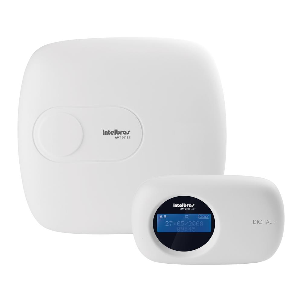 Central de Alarme Intelbras AMT 2018E, Alarme monitorado com 18 zonas (8 + 8 + 2 com fio + 24 sem fio), Via (linha telefônica/ethernet), 2 Partições, Discadora