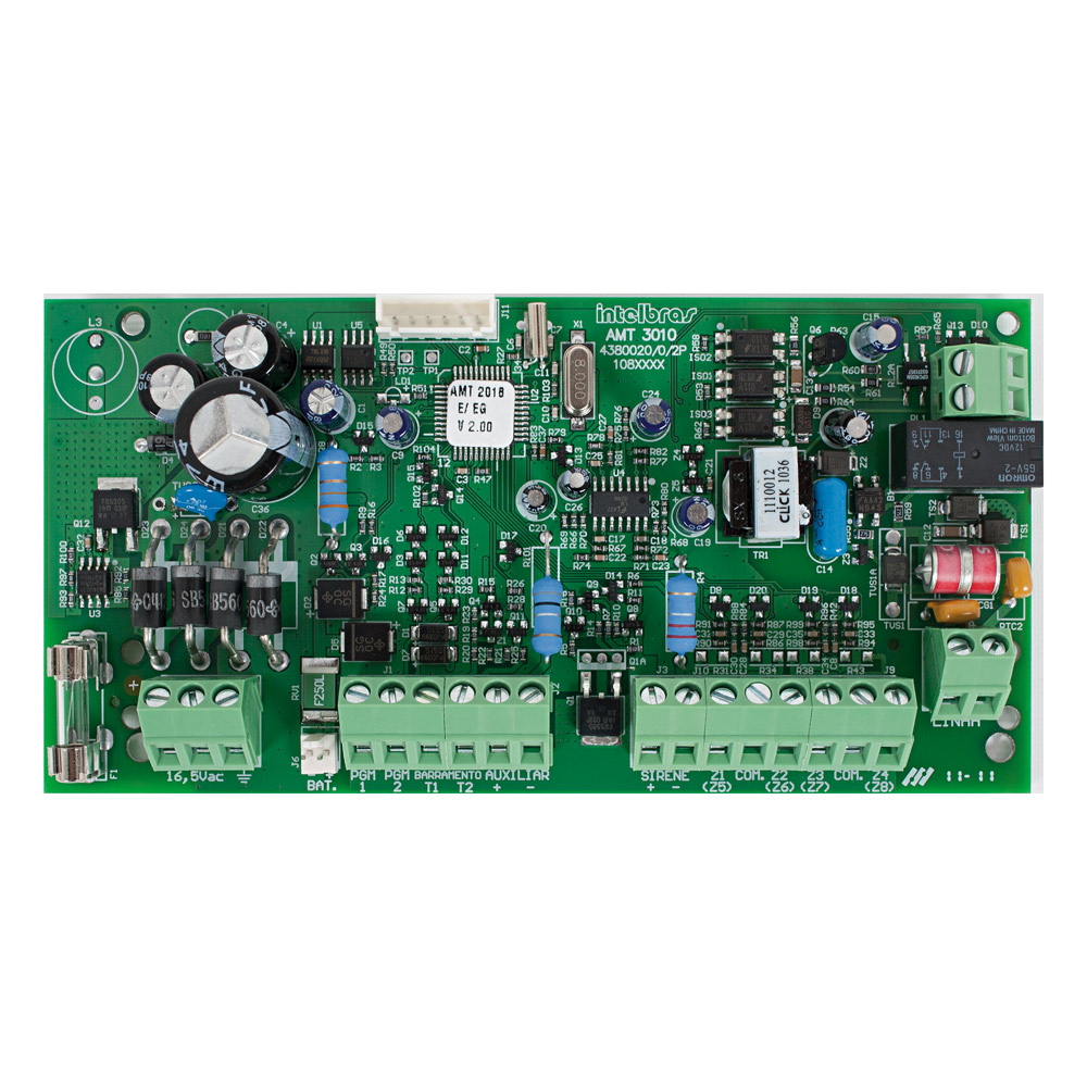 Central de Alarme Intelbras AMT 3010, Placa de Alarme monitorado com 10 zonas (4 + 4 + 2 com fio + 16 sem fio), Via linha telefônica, 2 Partições, Discadora ´