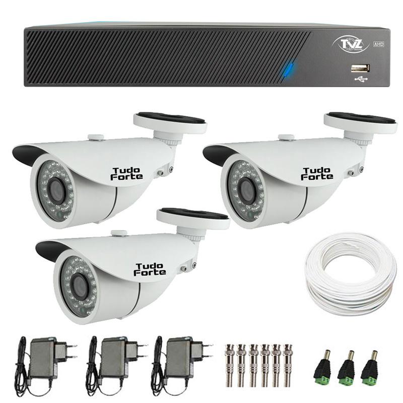 Kit de Câmeras de Segurança - DVR TVZ Security 4 Ch AHD M + 3 Câmeras Bullet Infravermelho AHD M Tudo Forte HD 720p 1.0M 3,6mm 36 Leds IP 66 IR 30 metros + Acessórios
