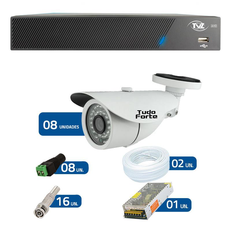 Kit de Câmeras de Segurança - DVR TVZ Security 8 Ch AHD M + 8 Câmeras Bullet Infravermelho AHD M Tudo Forte HD 720p 1.0M 3,6mm 36 Leds IP 66 IR 30 metros + Acessórios