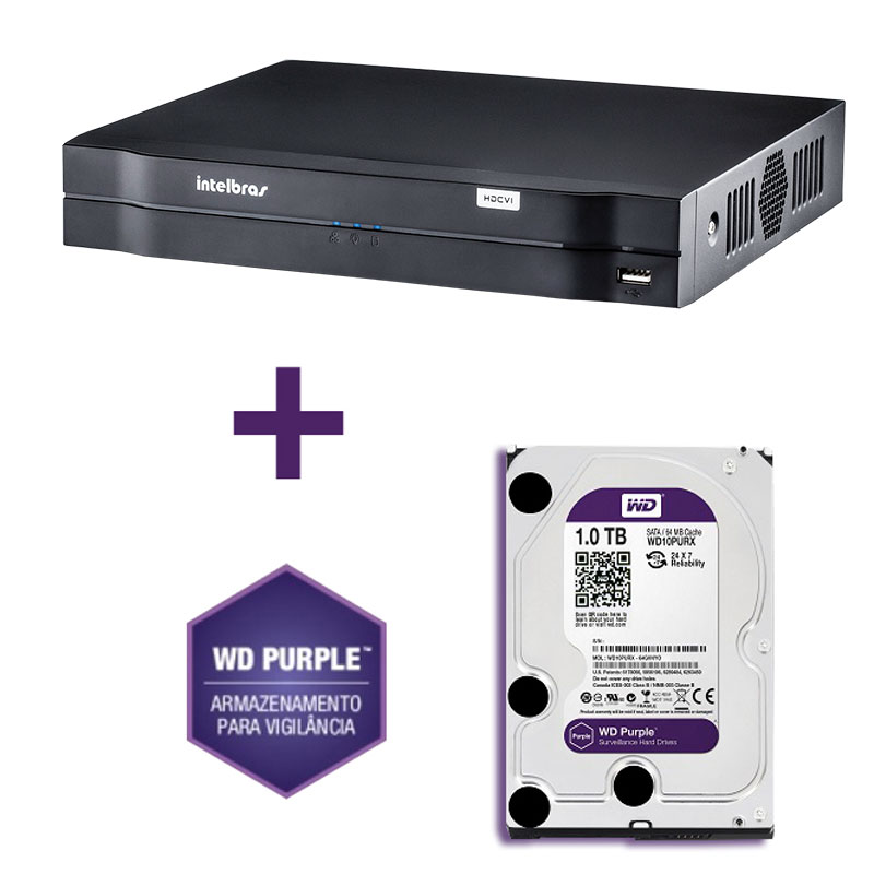 DVR Stand Alone Multi HD Intelbras MHDX-1004 4 Canais + HD 1TB WD Purple de CFTV