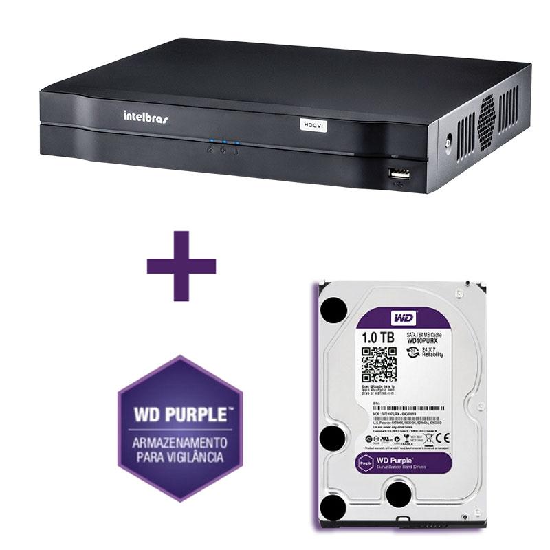 DVR Stand Alone Tríbrido HDCVI Intelbras HDCVI 1016 16 Canais + HD 1TB WD Purple de CFTV