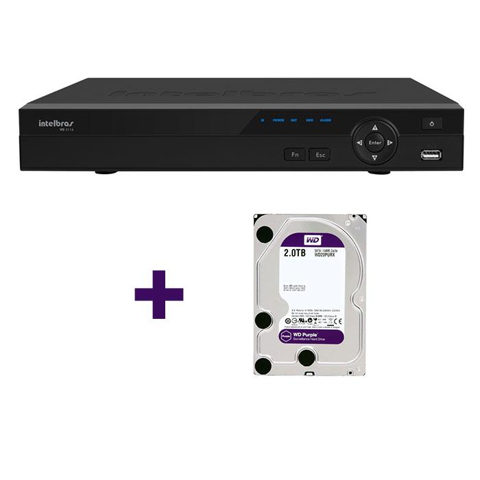 DVR Stand Alone Tríbrido HDCVI Intelbras HDCVI 3116 16 Canais 1080p + HD 2TB WD Purple de CFTV