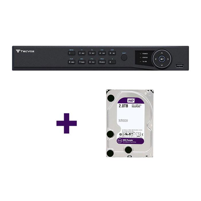 DVR Stand Alone Tríbrido HDTVI Tecvoz T1-STVI08/S 8 Canais + HD 2TB WD Purple de CFTV